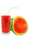 Watermelon juice and pieces on white background Royalty Free Stock Images