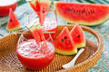 Watermelon juice some pieces watermelon Stock Photography
