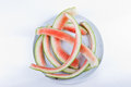 Watermelon leftovers on white plate Stock Image