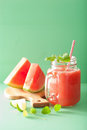 Watermelon lime smoothie in mason jars Stock Image