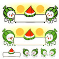 The watermelon mascot holding a big board fruit character desig design series Royalty Free Stock Photography