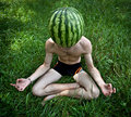 Watermelon meditation Royalty Free Stock Photo