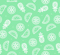 Watermelon, Pineapple and Orange Tropical Fruit Background Pattern. Vector Royalty Free Stock Photo