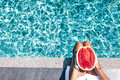 Watermelon in the pool Royalty Free Stock Photo