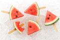 Watermelon popsicle yummy fresh summer fruit sweet dessert ice background Stock Photo