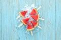 Watermelon popsicle yummy fresh summer fruit sweet dessert wood teak Royalty Free Stock Photo