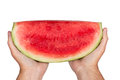 Watermelon ready to eat fresh cold horizontal shot and isolated on a white background Stock Photography