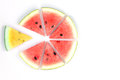 Watermelon red and yellow sliced on white background Royalty Free Stock Photo