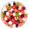 Watermelon salad isolated bowl of Stock Images