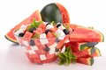 Watermelon salad isolated bowl of Royalty Free Stock Images