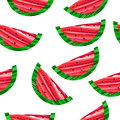 Watermelon seamless pattern vector illustration. Brush strokes style. Royalty Free Stock Photo