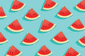 Watermelon slice on blue background.Summer time design banner.