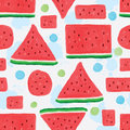 Watermelon slice seamless pattern Royalty Free Stock Photo