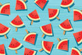 Watermelon slice on wooden. Summer time background banner. Royalty Free Stock Photo