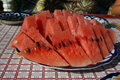 Watermelon slices on dish on table Royalty Free Stock Photos