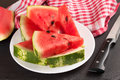 Watermelon slices on the plate Royalty Free Stock Photo