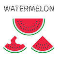 Watermelons and watermelon slices flat cartoon vector set