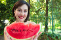 Watermelon summer refreshment young woman hold red ripe photography Stock Photos