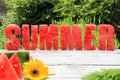 Watermelon summer spelled in letters cut out of Royalty Free Stock Image