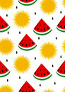 Watermelon and sun seamless background