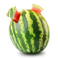 Watermelon with two cute corner on white Stock Photo