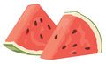 Watermelon two slices isolated illustration Stock Image