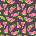 Watermelon vector colorful seamless pattern on bro Royalty Free Stock Photo