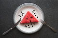 Watermelon on vintage plate Royalty Free Stock Photo