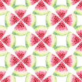 Watermelon watercolor seamless pattern. Modern food illustration. Textile print design