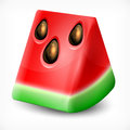 Watermelon on white fresh slice of background vector illustration Royalty Free Stock Photo