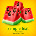 Watermelon on yellow fresh slice of background text vector illustration Stock Images