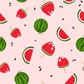 Watermelons, ice cream, yummy, freshness seamless pattern colorful, summer season, splashing of ink background texture vector
