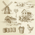 Watermill and windmill hand drawn collection Royalty Free Stock Photos