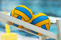Waterpolo balls detail of two background Stock Photo