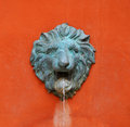 Waters lions head statue of orange background Royalty Free Stock Photography