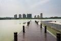 Waterscape platform this photo was taken in lotus lake park nanjing city china photo taken on jul th Stock Photo