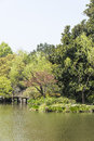 Waterside bridge this photo was taken in prince bay park taiziwan park west lake cultural landscape of hangzhou zhejiang province Stock Photography