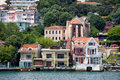 Waterside houses along the bosphorus strait in yenikoy quarter of istanbul turkey Stock Photography