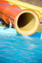 Waterslide blue plastic in pool Stock Photography
