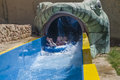 Waterslide in a tube picture the grandkids running rubber boat on water slide the is shot at the aqua park to hotel hilton sharm Stock Photo