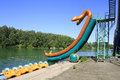 Waterslides at lake aya altai russia Royalty Free Stock Image