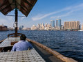 Watertaxi on The Creek and Deira skyline Royalty Free Stock Image