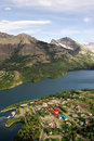 Waterton village and lake Royalty Free Stock Image