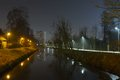 Waterway, Canal At Night