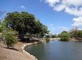 Waterway opens into pond in Ala Moana Beach Park Royalty Free Stock Photo