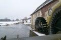 Waterwheel old in winter near gulpen in limburg Stock Image