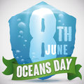 Watery Shield Design Promoting Marine Protection for World Oceans Day, Vector Illustration