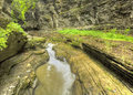 Watkins glen gorge stream and pool at long exposure photography Royalty Free Stock Photo