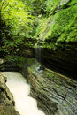 Watkins glen gorge waterfalls at long exposure photography Stock Photography