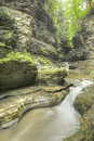Watkins glen gorge waterfalls at long exposure photography Stock Image